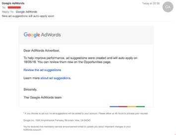 Google AdWords Fake Phishing Email