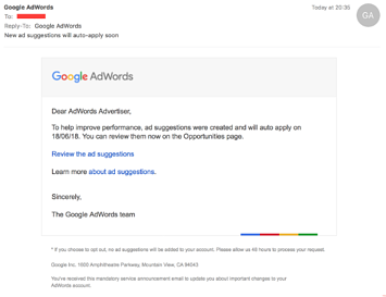 Google AdWords Fake Phishing Email