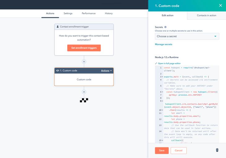 Custom coding action in HubSpot workflow