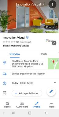 Innovation Visual Google my Business page