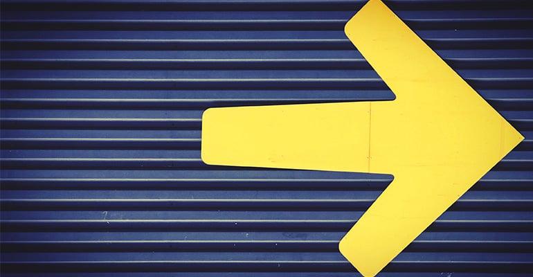 Direction arrow symbolising goals and next steps