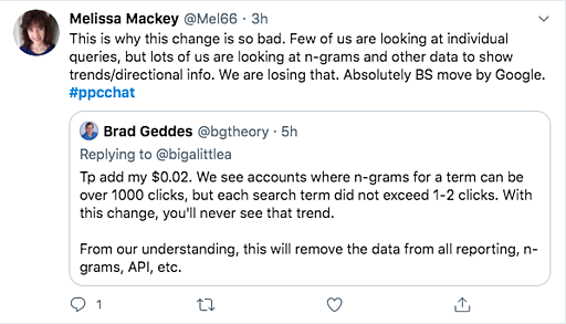Twitter post complaining about the new GoodAds search terms changes