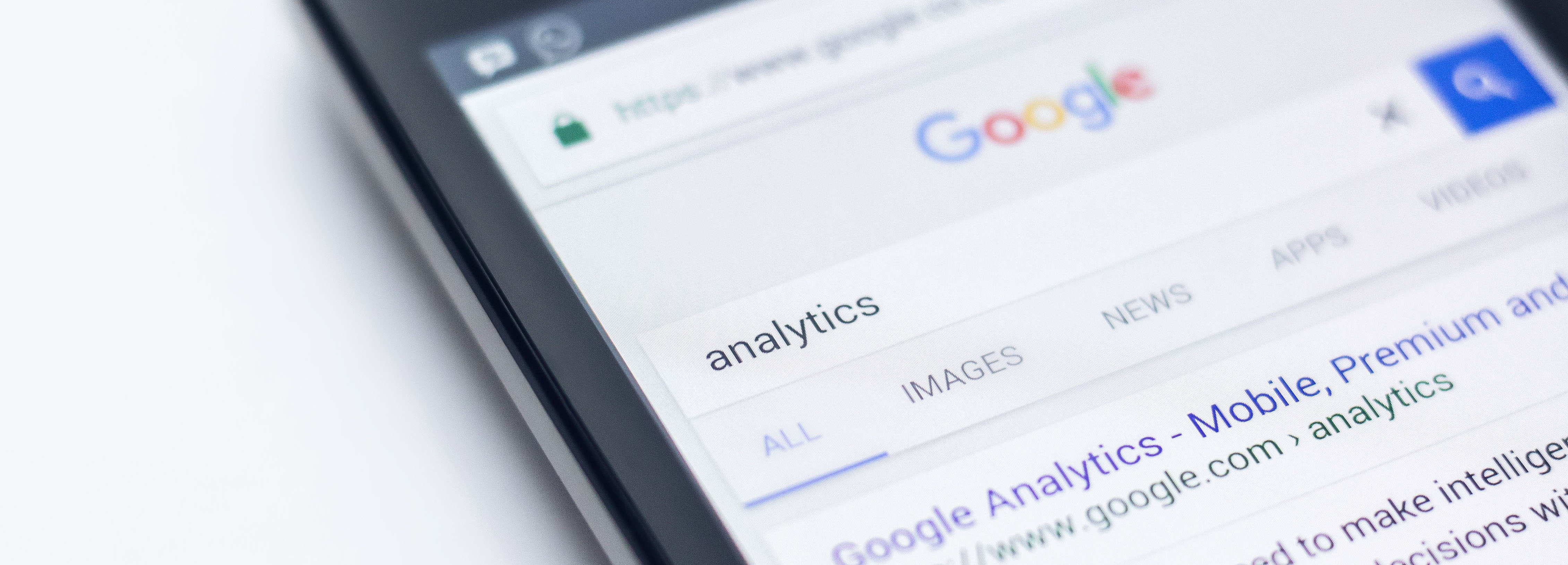 Searching for analytics on Google mobile