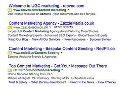 4 Google Text Adverts At Top Of Results Page