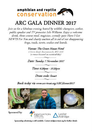 amphibian and reptile conservation arc gala dinner 2017 agenda