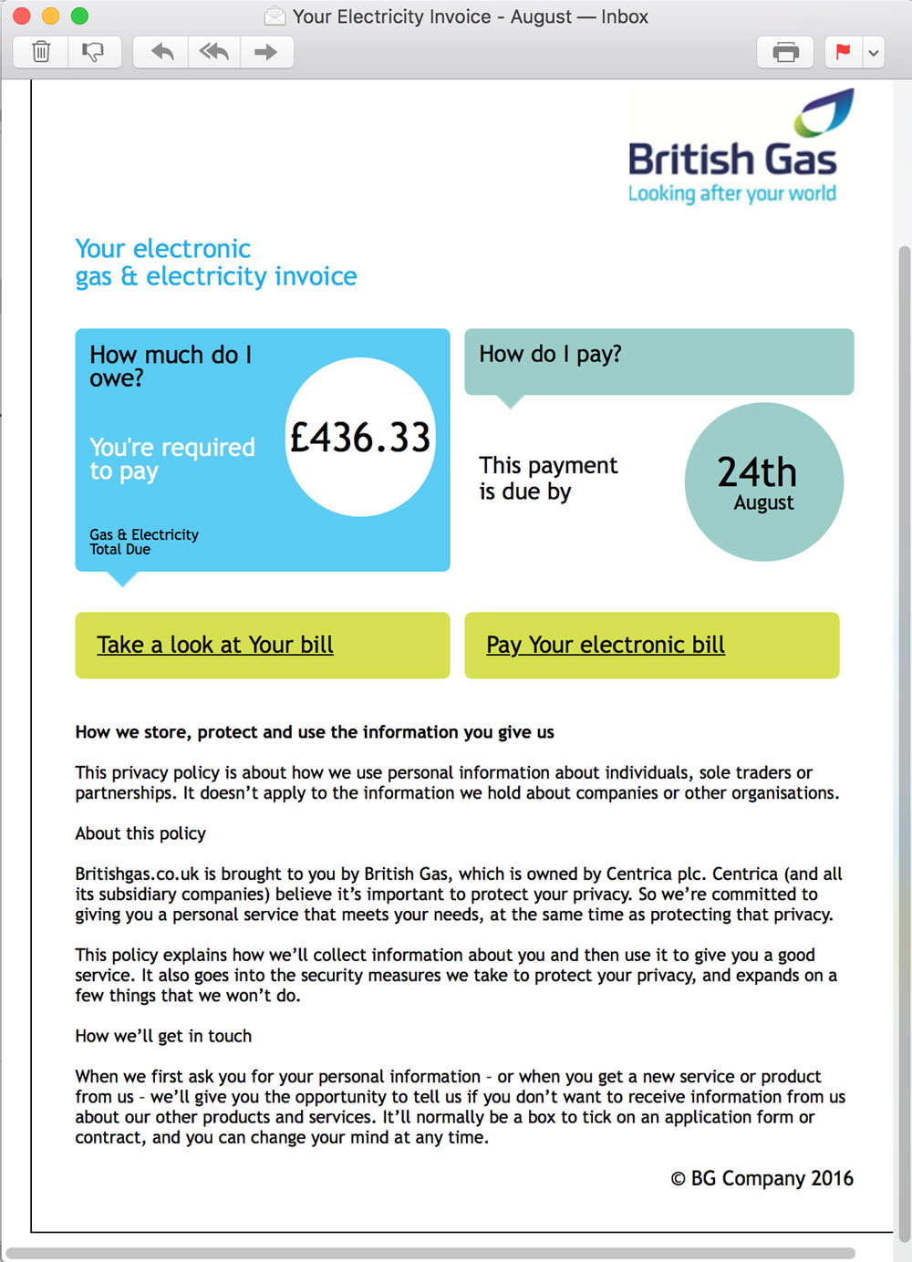 Energy Bill Email Phishing Scam