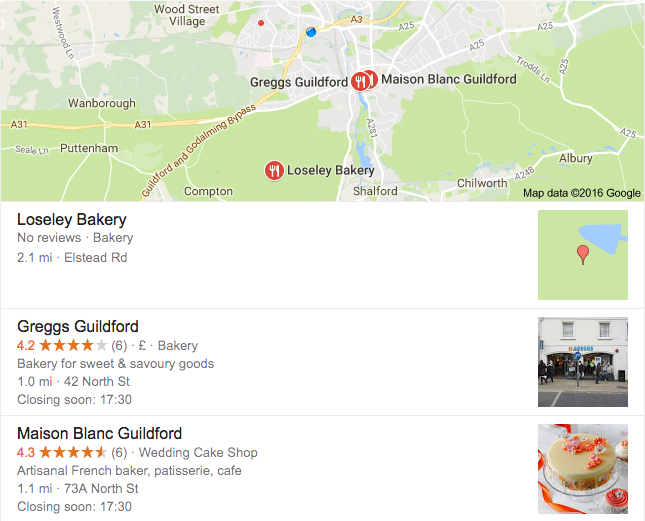 Google search result for 'bakery'