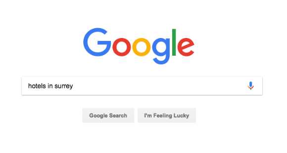 Google Search for Hotels in Surrey