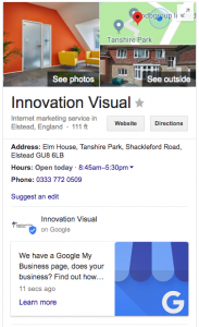 Innovation Visual Google My Business Card