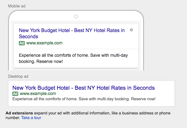 New Default Google Adwords Text Ad Format