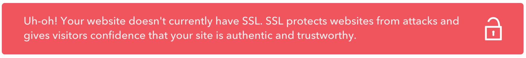 no ssl certificate warning message