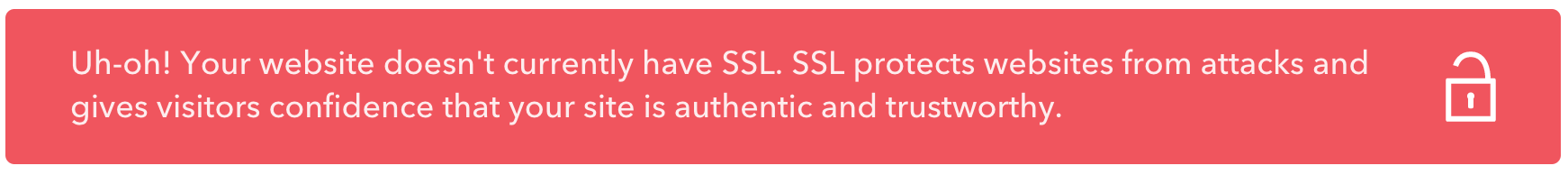 no ssl certificate warning message