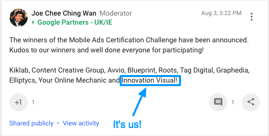 Innovation Visual wins Google Mobile Challenge