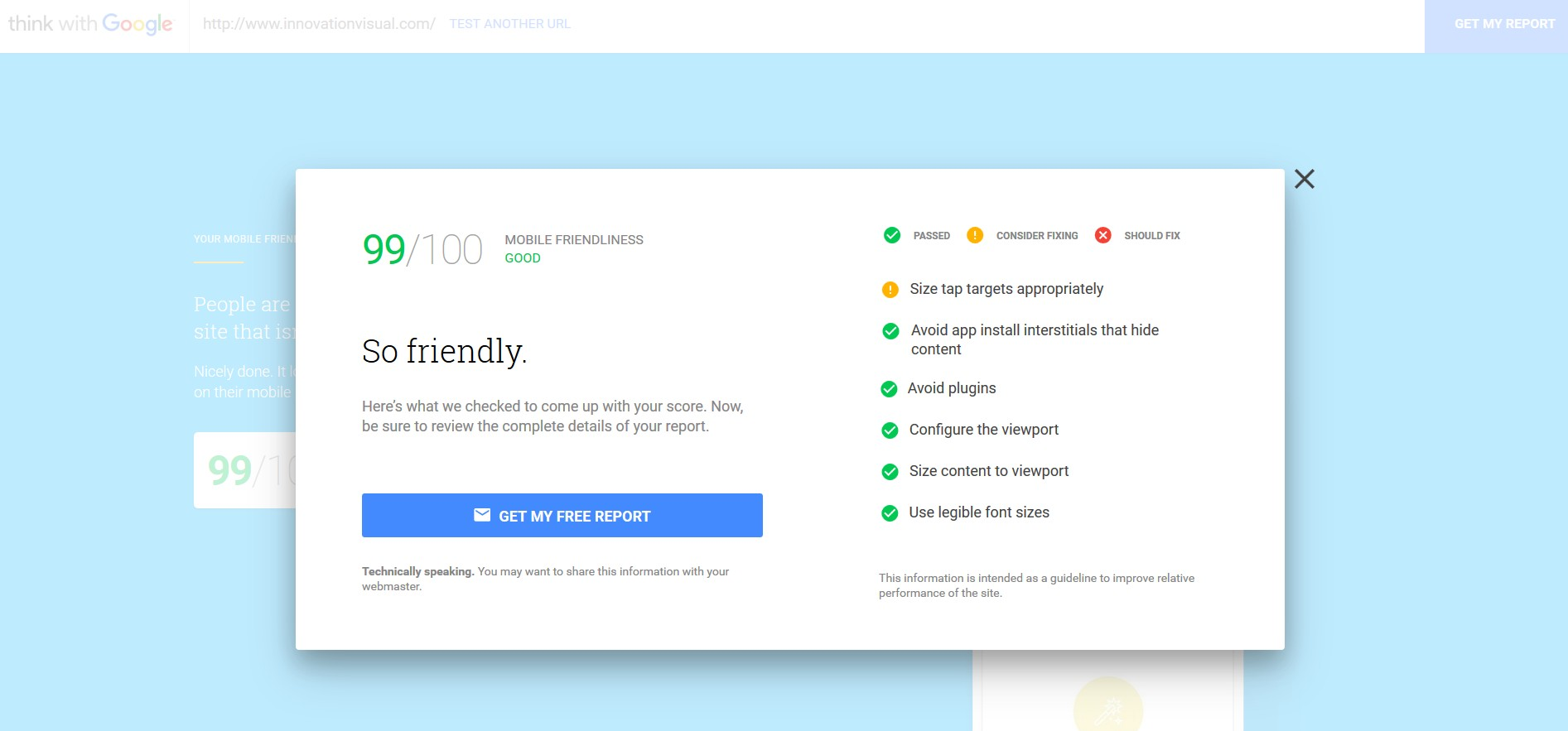 innovation visual website - mobile friendliness report from think with google test tool