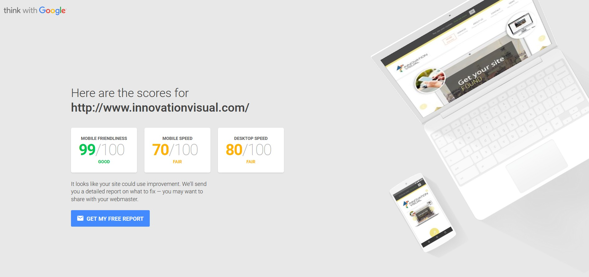 innovation visual website - mobile and speed insights from think with google test tool