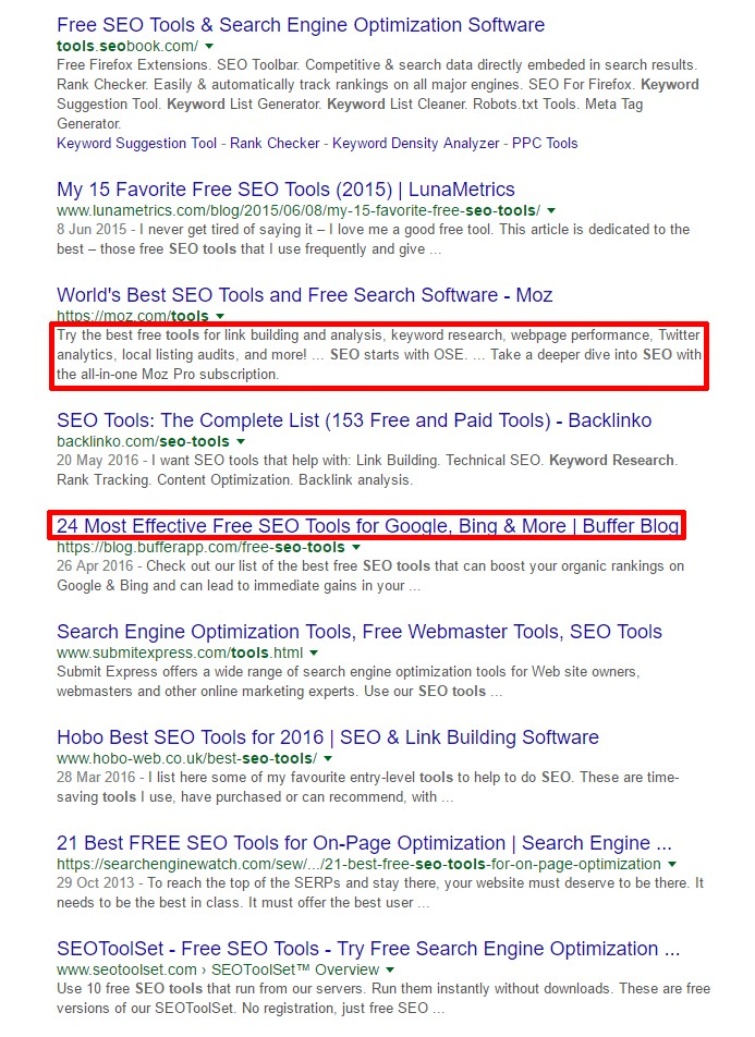 May 2016 Google Update on SERPs title/description length (seo tools query)