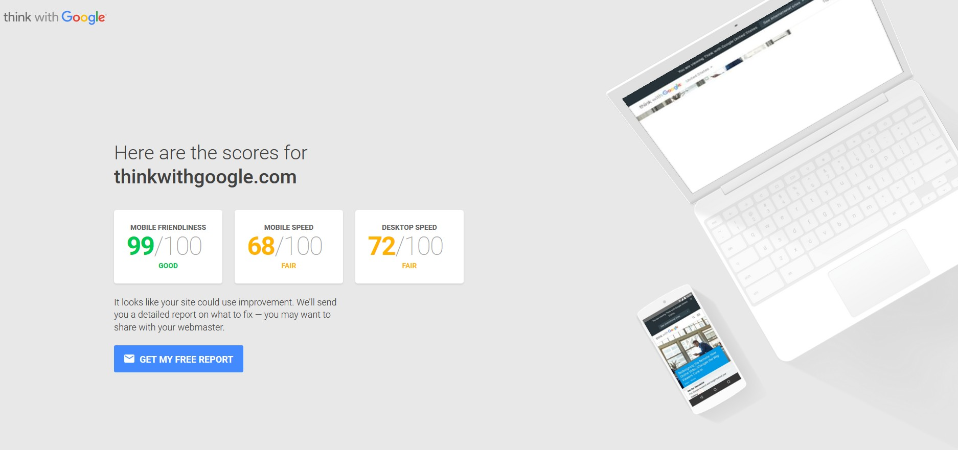 twg website - mobile and speed insights from think with google test tool