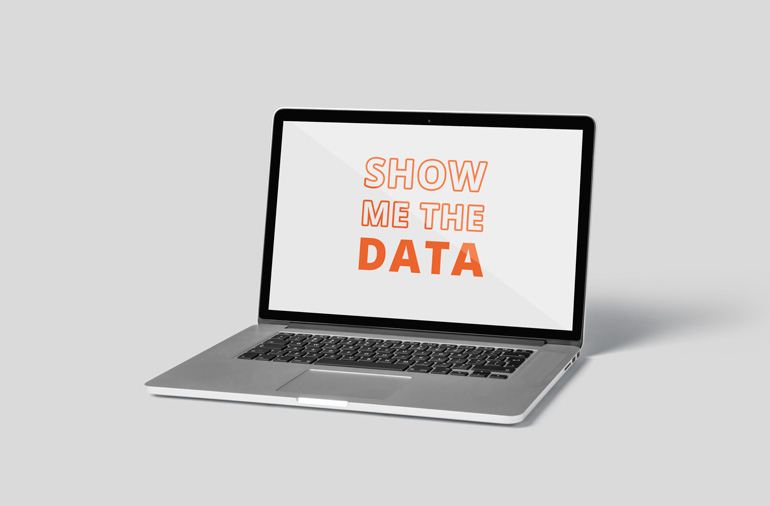 Innovation Visual on Ecommerce Analytics: Laptop shows 'Show me the data'