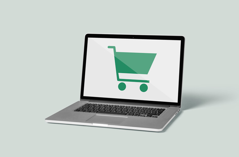 Innovation Visual on Ecommerce Analytics: Laptop shows online shopping cart icon