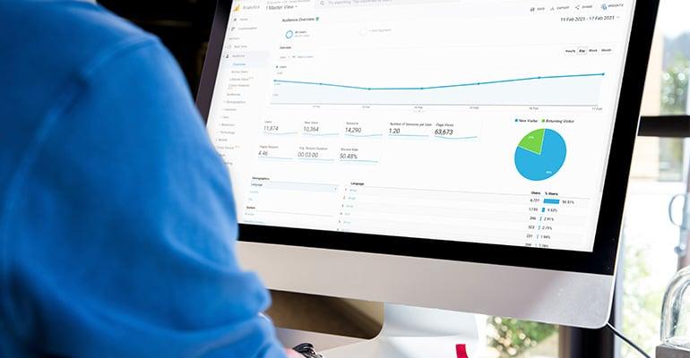 Google Analytics example account on desktop screen