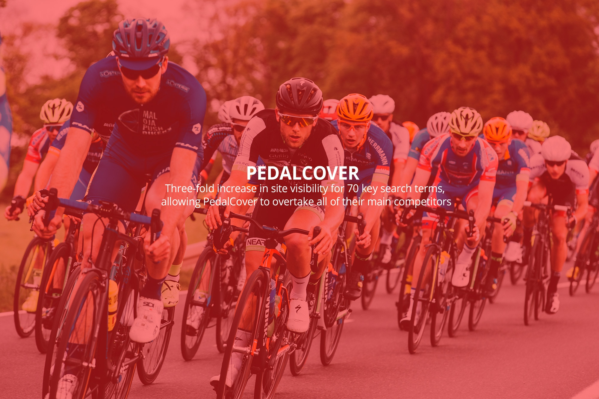 PedalCover hree-fold increase in site visibility for 70 key search terms, allowing PedalCover to overtake all of their main competitors