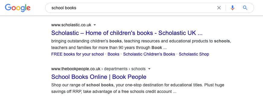 'School Books' phrase Google Search screenshot example