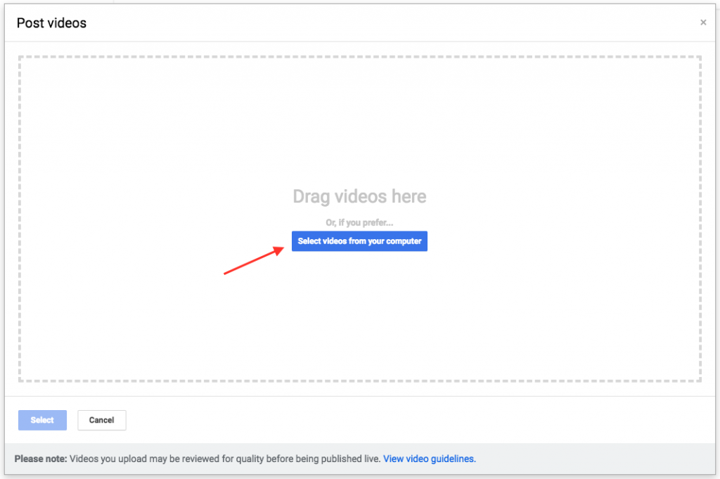 Google My Business Dashboard Video Uploads
