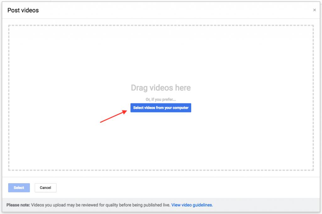 Google My Business Dashboard Video Uploads