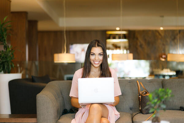 female using a laptop