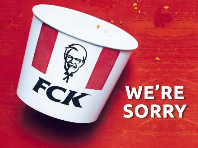 KFC fck we're sorry advert