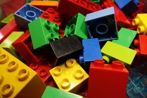 Multi-colored lego blocks