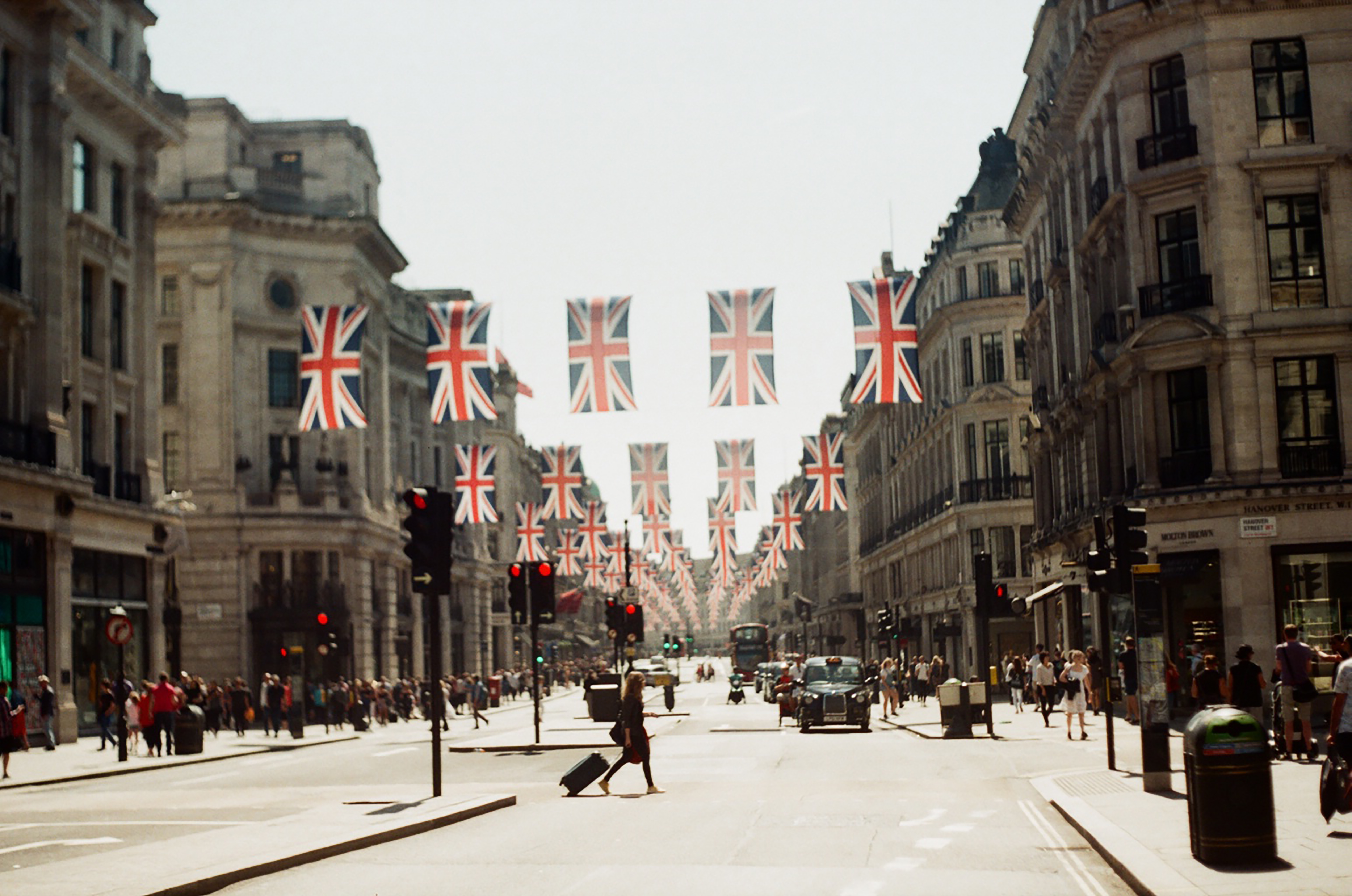 London's Regent Street in summer lined with Union Jack flags