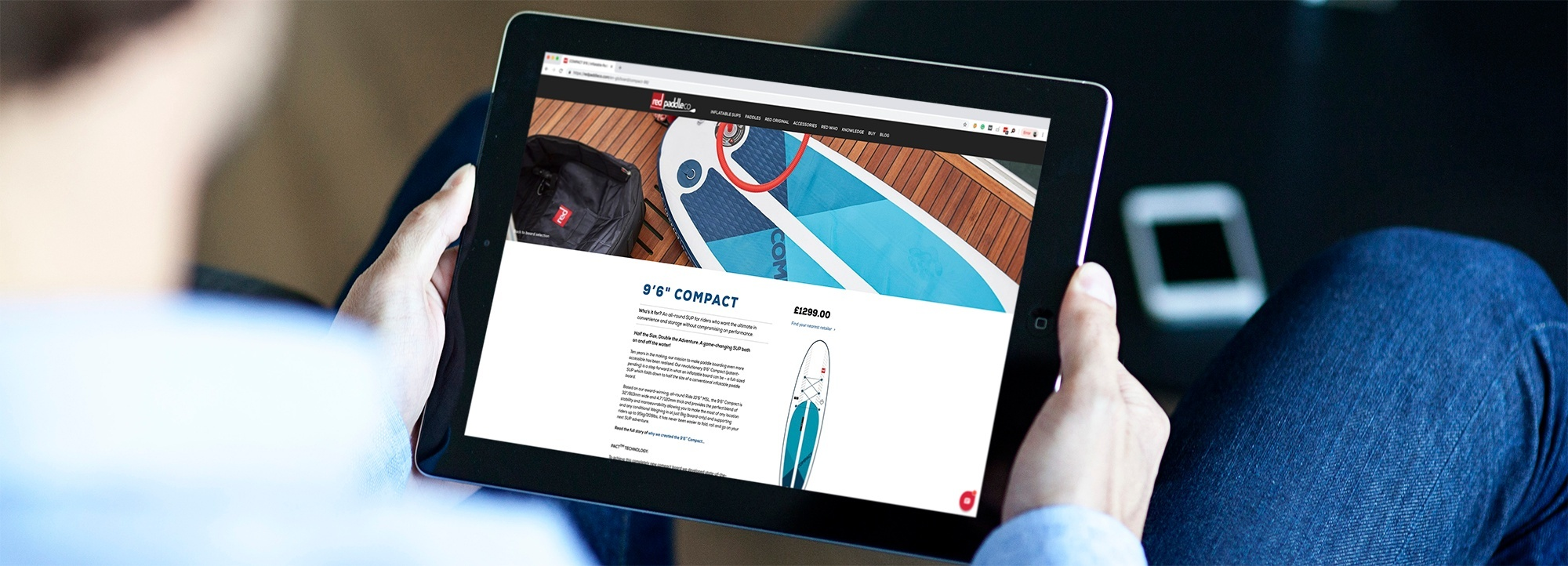 Red Paddle Co ecommerce site on ipad