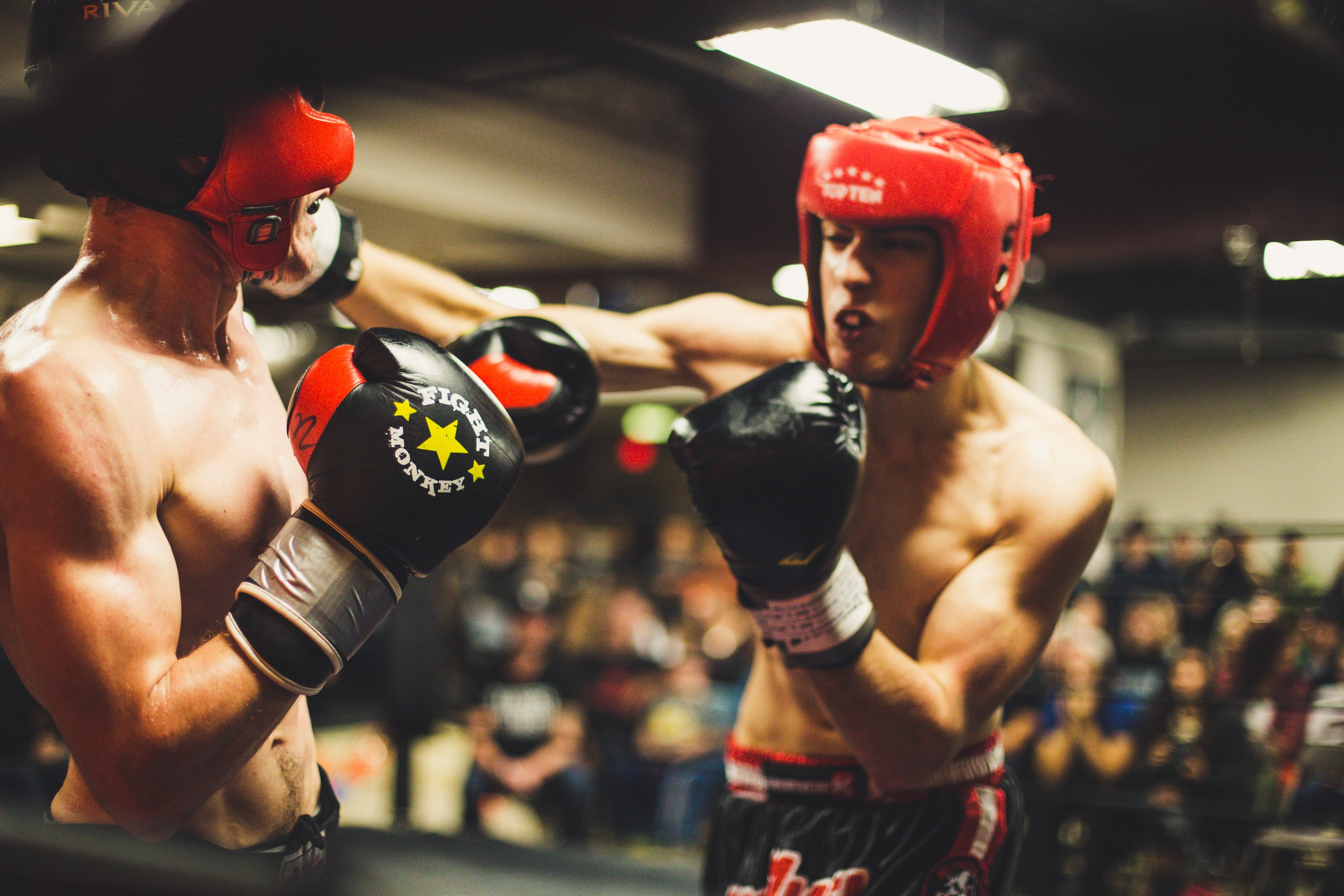 two boxers fighting in ring