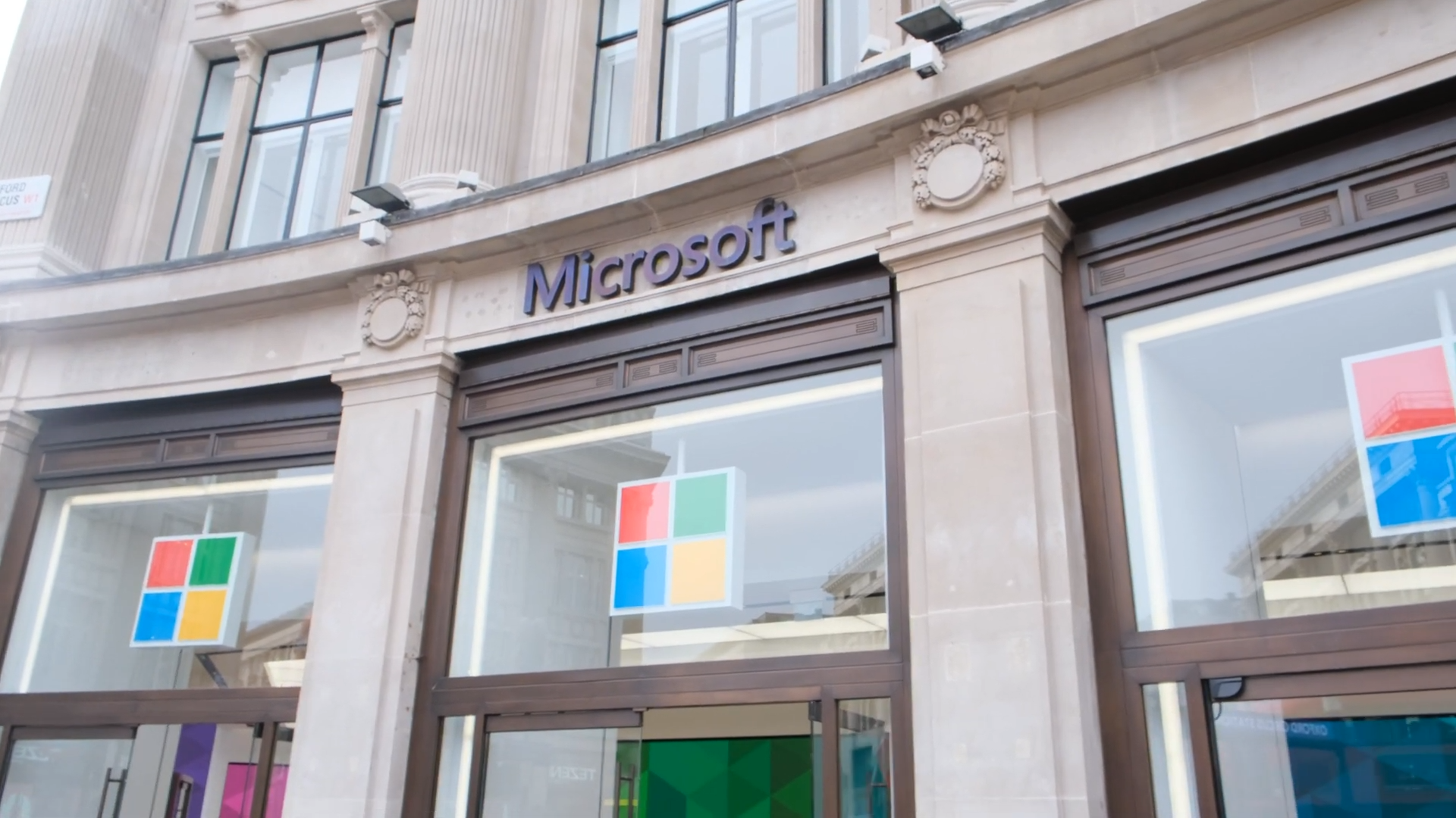 Outside the Microsoft Flagship Store in London