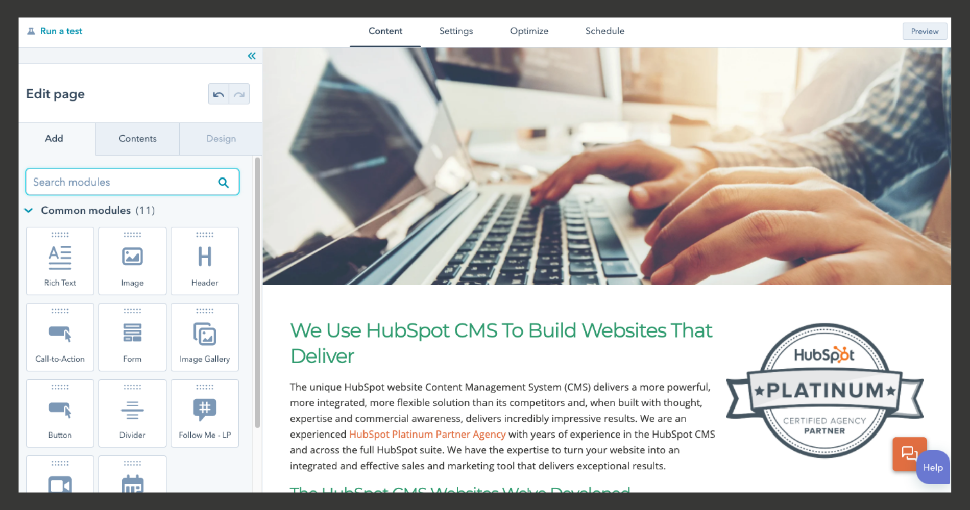 Screenshot of intuitive HubSpot CMS interface