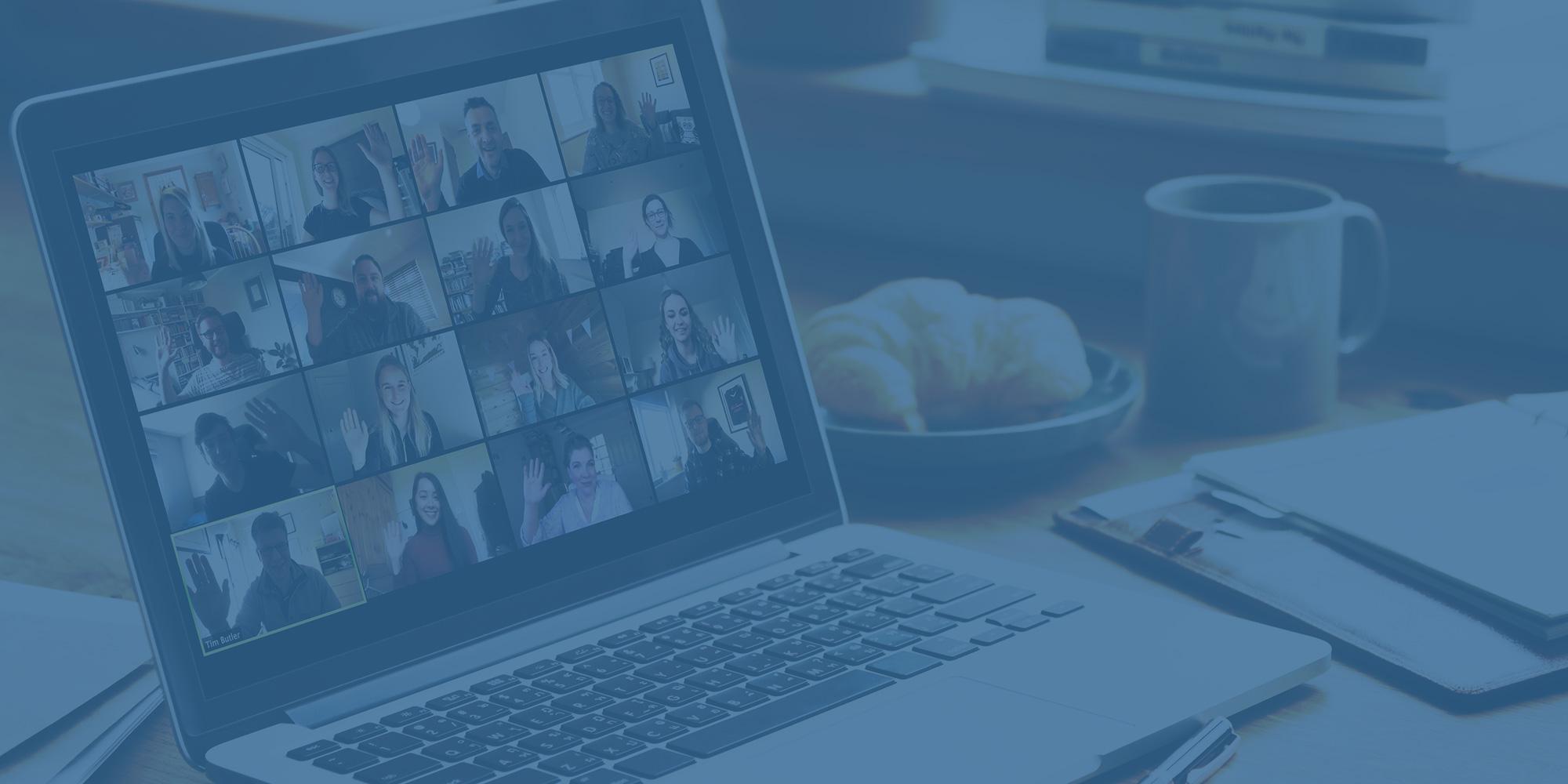 Innovation Visual's Digital Marketing Team waving on Zoom call meeting on screen