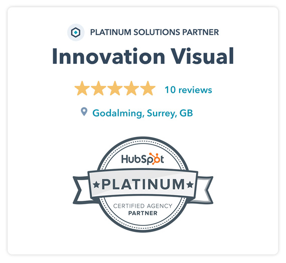 Innovation Visual Hubspot Platinum Solutions Partner graphic showing 5-Star Reviews and Location
