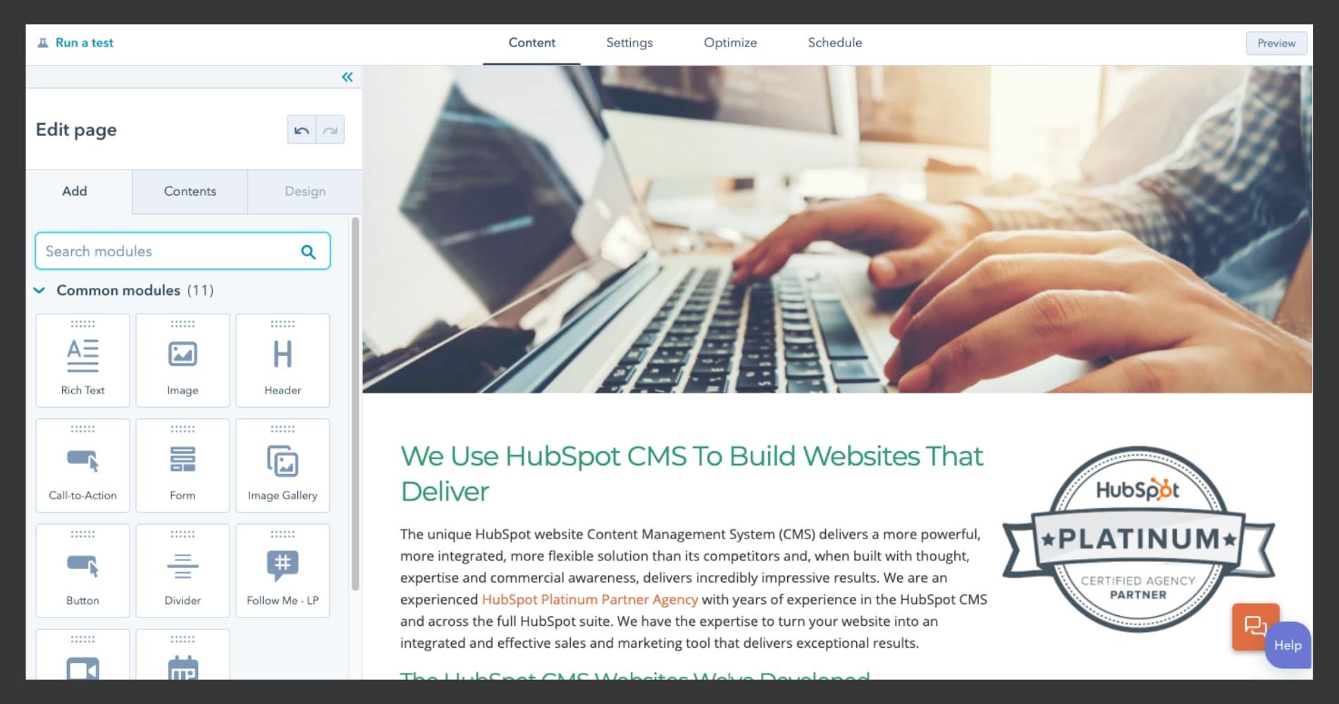 Screenshot of intuitive HubSpot CMS interface